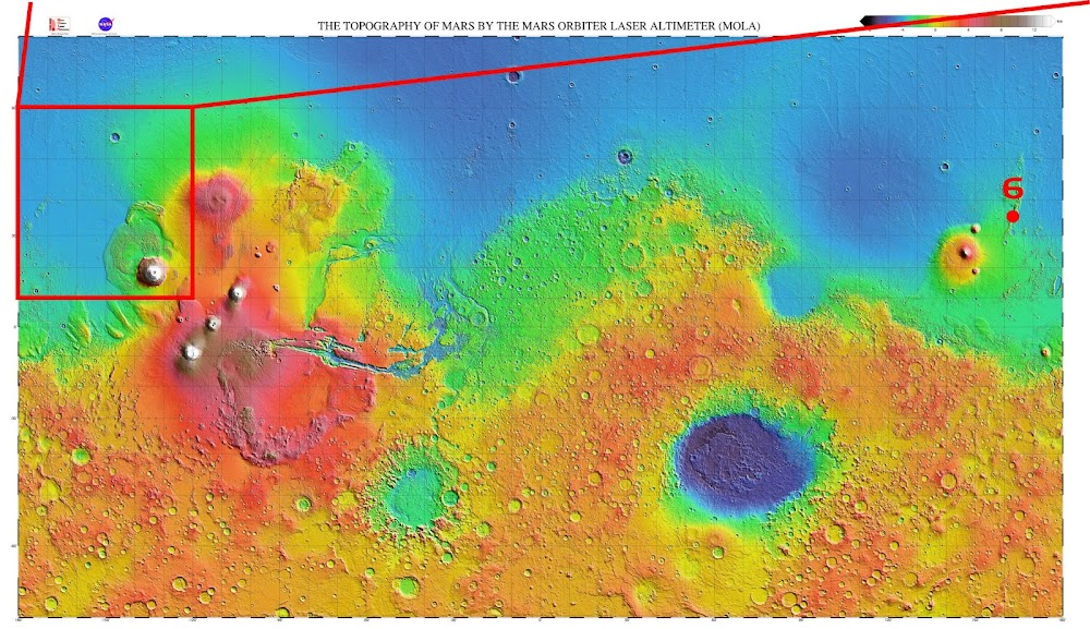 Mars heightmap & potential site 6 for SpaceX Starship Mars landing in Phlegra Montes