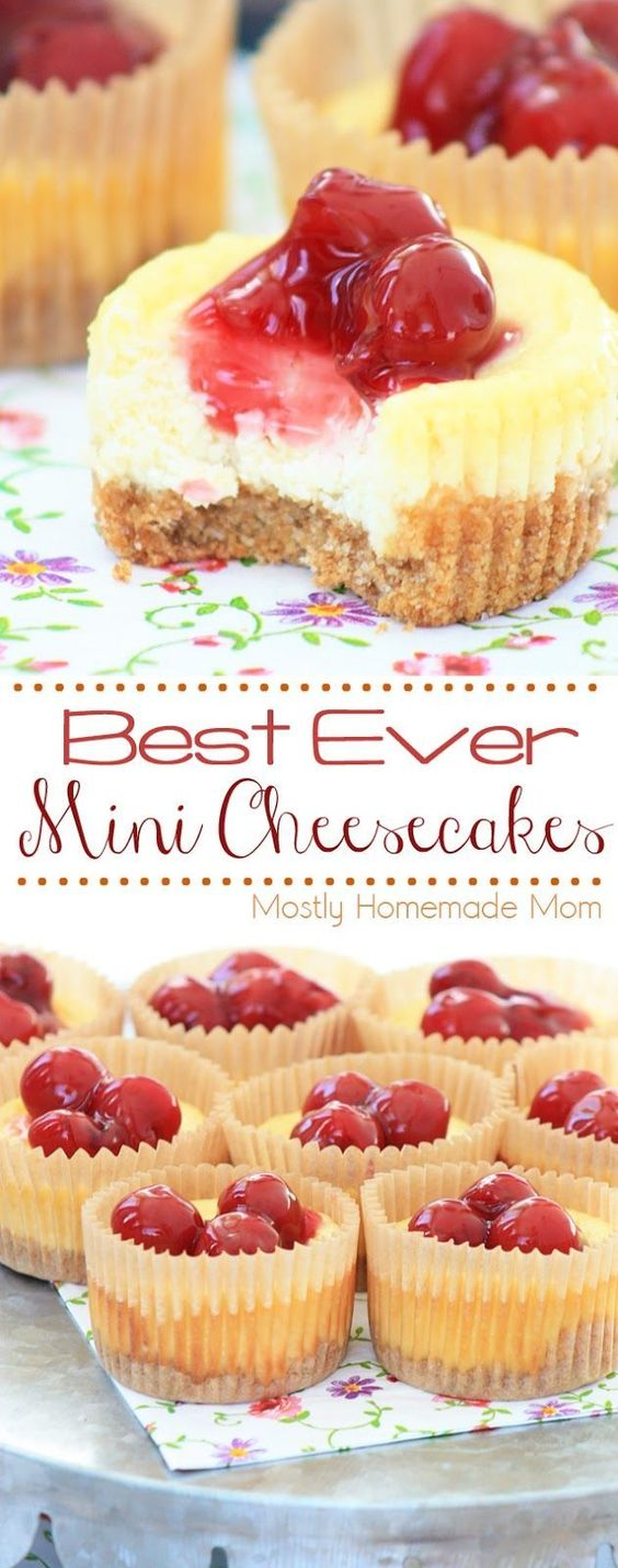Best Ever Mini Cheesecakes  #minicheesecake #cheesecake #cake #cakerecipes #dessert #dessertrecipes #easydessertrecipes Desserts, Healthy Food, Easy Recipes, Dinner, Lauch, Delicious, Easy, Holidays Recipe, Special Diet, World Cuisine, Cake, Grill, Appetizers, Healthy Recipes, Drinks, Cooking Method, Italian Recipes, Meat, Vegan Recipes, Cookies, Pasta Recipes, Fruit, Salad, Soup Appetizers, Non Alcoholic Drinks, Meal Planning, Vegetables, Soup, Pastry, Chocolate, Dairy, Alcoholic Drinks, Bulgur Salad, Baking, Snacks, Beef Recipes, Meat Appetizers, Mexican Recipes, Bread, Asian Recipes, Seafood Appetizers, Muffins, Breakfast And Brunch, Condiments, Cupcakes, Cheese, Chicken Recipes, Pie, Coffee, No Bake Desserts, Healthy Snacks, Seafood, Grain, Lunches Dinners, Mexican, Quick Bread, Liquor