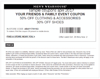 Men's Wearhouse coupons for april 2017