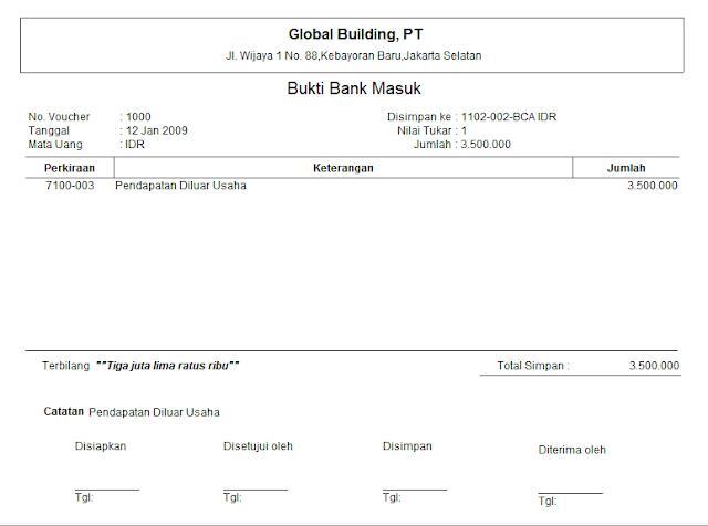 Contoh Desain Formulir BBM Bukti Bank Masuk