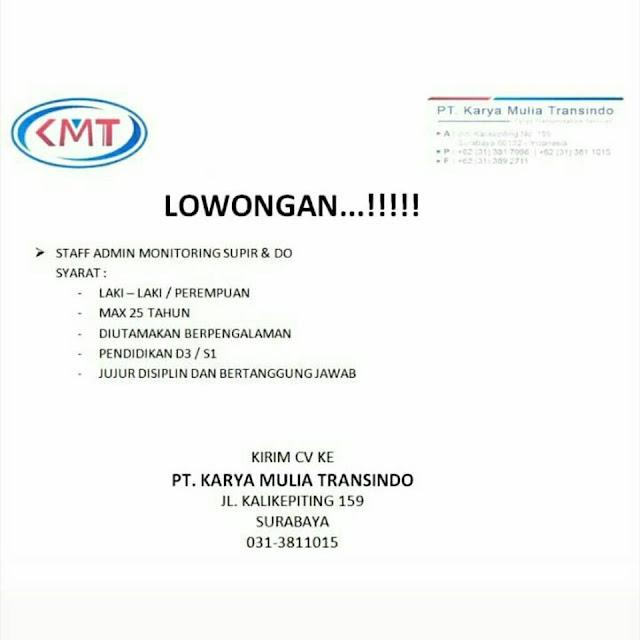 lowongan kerja staff admin pt karya mulia transindo