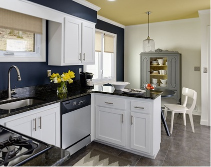 C b i d home decor and design accent walls for Blue kitchen cabinets with yellow walls