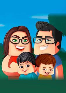 caricatura digital tematizada de família