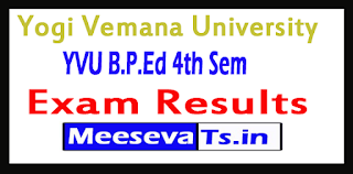 Yogi Vemana University B.P.Ed 4th Sem Exam Results