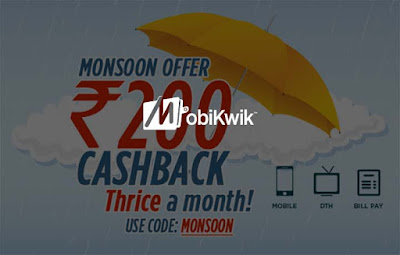 Mobikwik Wallet - Get upto Rs. 200 cashback on Recharge & Bill pay, thrice a month!