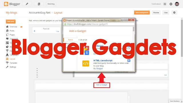 Гаджеты Blogger и их основные функции
