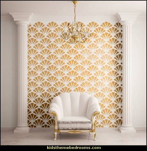 Scallop Shell Pattern Wall Stencil underwater bedroom ideas - under the sea theme bedrooms - mermaid theme bedrooms - sea life bedrooms - Little mermaid princess Ariel - Sponge Bob theme bedrooms - mermaid bedding - Disney's little mermaid - clamshell bed - mermaid murals - mermaid wall decal stickers -
