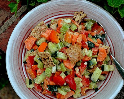 Greek Bread Salad with Toasted Pita Chips