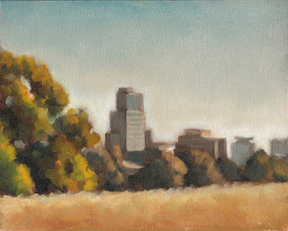 Oil painting of distant high-rise buildings with trees in the middle ground.