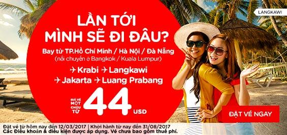 Mừng ngày quốc tế phụ nữ Air Asia khuyến mãi giá chỉ từ 6 USD