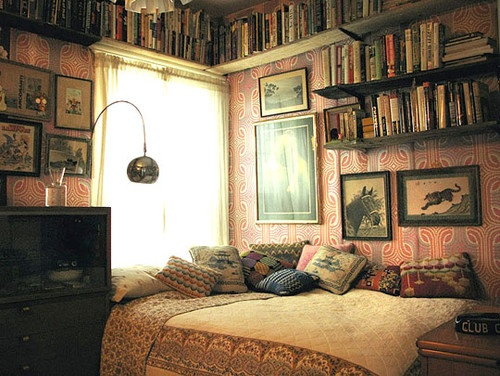 gypsy caravan interior via elle decor the ornate woodwork with painted panels are to me reminiscent of an antique carousel - Bohemian Style Bedroom Decor