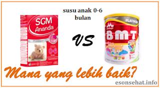 Susu SGM Ananda Presinutri atau Morinaga BMT Platinum mana yang lebih baik bagi bayi 0-6 bulan