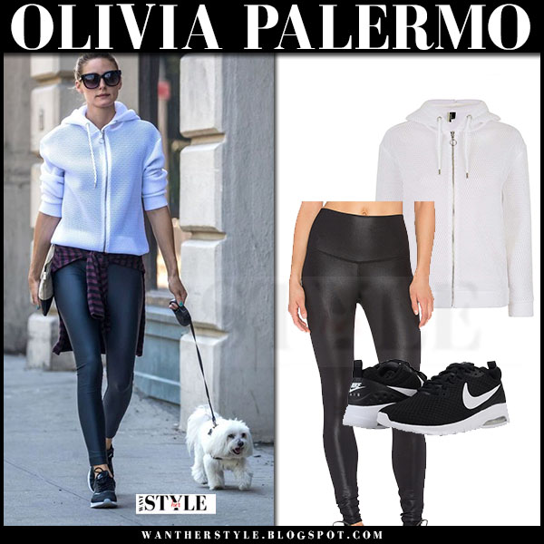Olivia Palermo in white zip topshop airtex hoodie and black leggings alo yoga what she wore