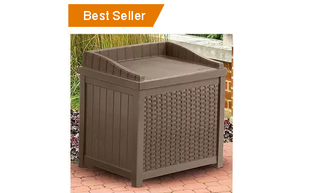 Suncast SSW1200 Mocha Resin Wicker 22-Gallon Storage Seat, Suncast Storage Boxes, Suncast Vertical Deck Boxes, Suncast Elements, Suncast Storage Cube, Suncast Patio Storage Box, Suncast Wicker Deck Box, Suncast Deck Box with Seat, Suncast,