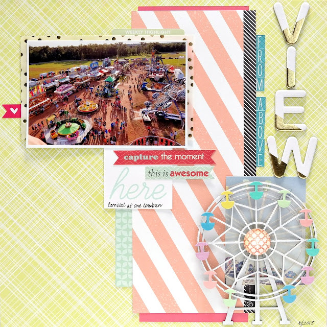 Colorful Summer Carnival Scrapbook Layout with Chipboard Ferris Wheel Embellishment