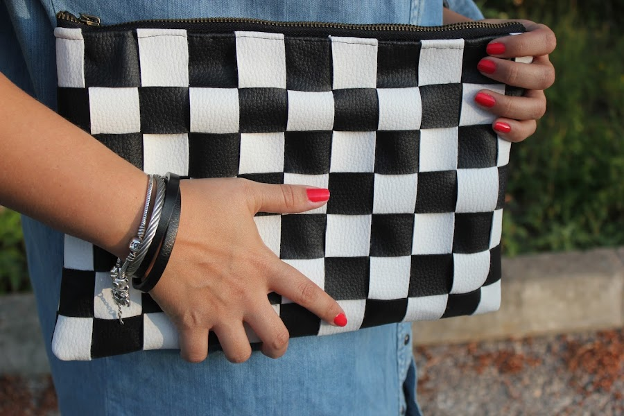 DIY Bolso de cuero damero / DIY black and white leather bag