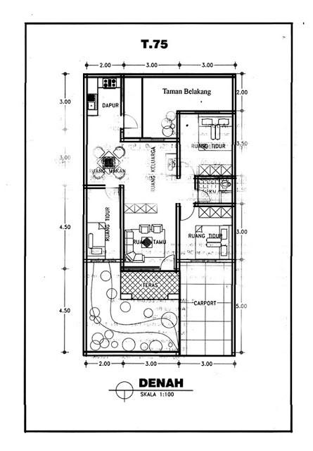 Gambar Denah Rumah Minimalis Ukuran 8x15 2