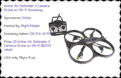 Enter to win the Vivitar Air Defender X Camera Drone Giveaway. Ends 9/15. Open US