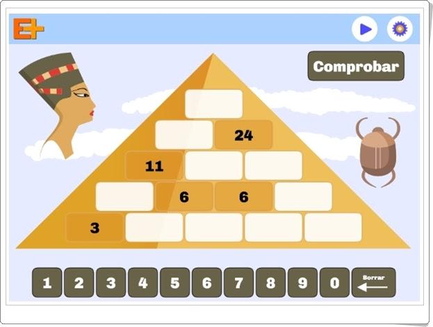 """""""Pirámide de números naturales"""" (Juego de Matemáticas de Primaria)"""