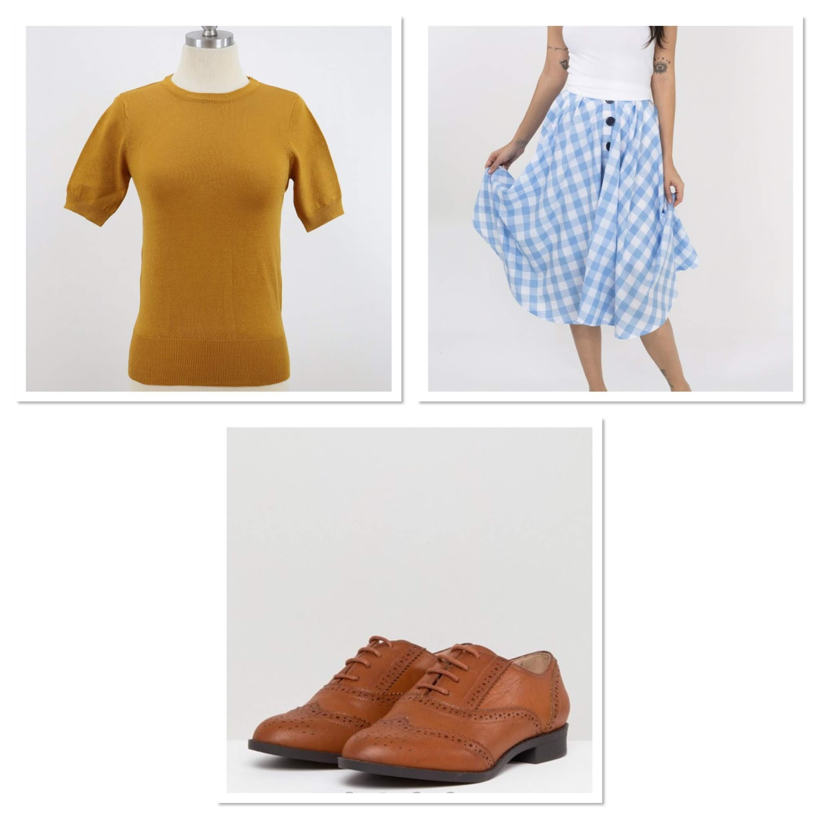ee1b491aae7875 Teaming the new mustard short sleeve jumper with a swing skirt in blue  gingham. Adding brown brogues as pictured to tie it altogether.
