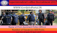 Superintendent's office Recruitment 2017– 800 Assistant Police Officer