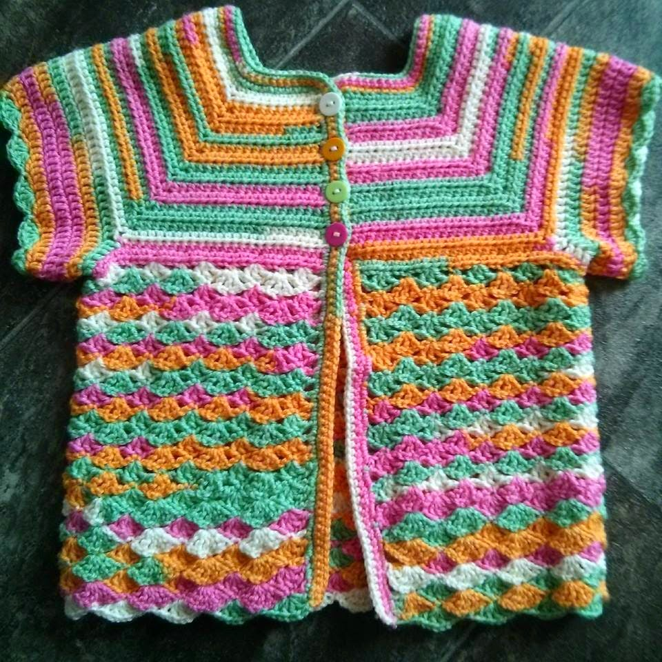 free crochet pattern short sleeved toddler cardigan