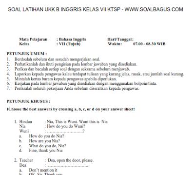 Soal UKK/ UAS B. Inggris Kelas 7 SMP/ MTs Semester 2 KTSP