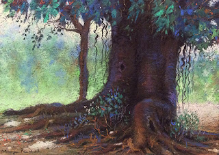 Soft pastel drawing of a tree on Canson Mi Teintes paper by Indian artist Manju Panchal