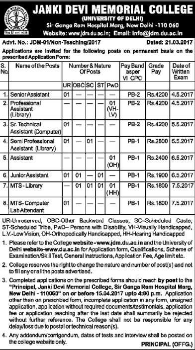 Janki Devi Memorial College Recruitment 2017
