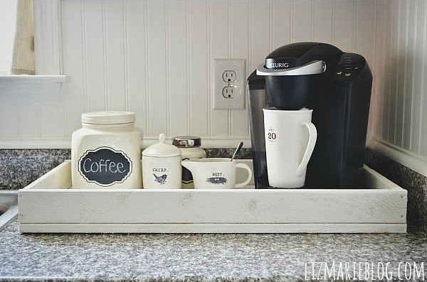 Coffee Station Ideas Countertop Tray