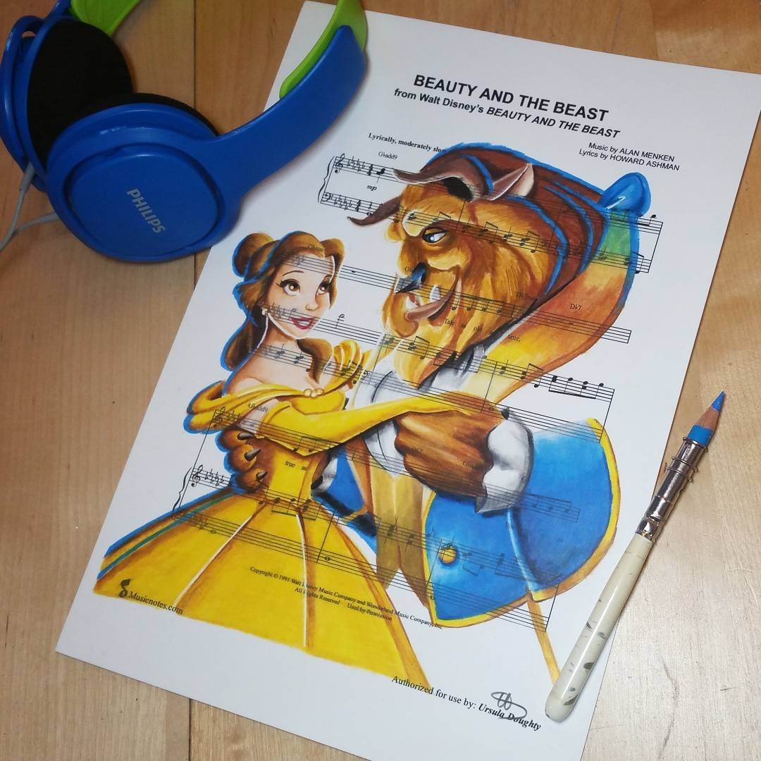 04-Beauty-and-the-Beast-Ursula-Doughty-Animated-Movies-Drawn-on-their-Music-Scores-www-designstack-co