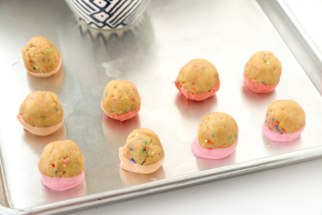 Color Blocked Funfetti Oreo Truffles for a party or dessert - Easy to customize the colors for your event or party - Party food - sprinkles