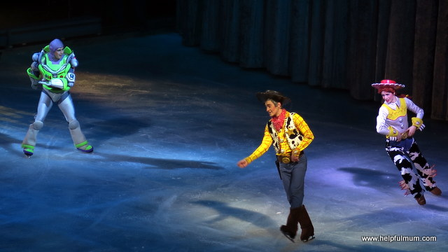 Buzz Woody and Jessie on ice