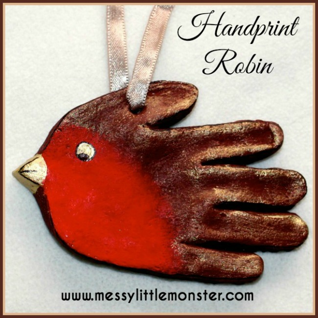 how to make a salt dough robin handprint keepsake.  Great kid made gift/ keepsake.