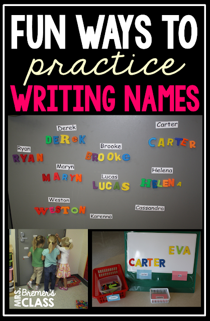 Lots of fun ideas and teaching tips to help students learn and practice name recognition and name writing in Kindergarten! #learningnames #names #writing #kindergarten #kindergartenwriting #nameactivities #literacy #backtoschool
