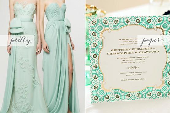 Mint Green And Gold Wedding Invitations: Mint Green Wedding Ideas