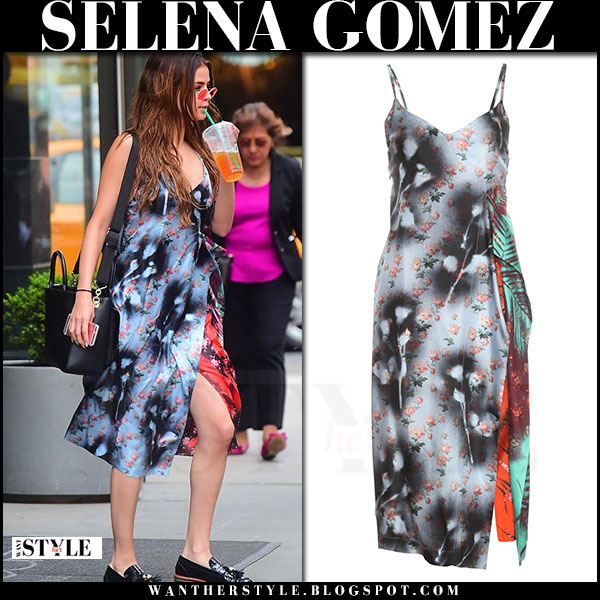 Selena Gomez in grey floral print acne studios clemente dress and black loafers what she wore