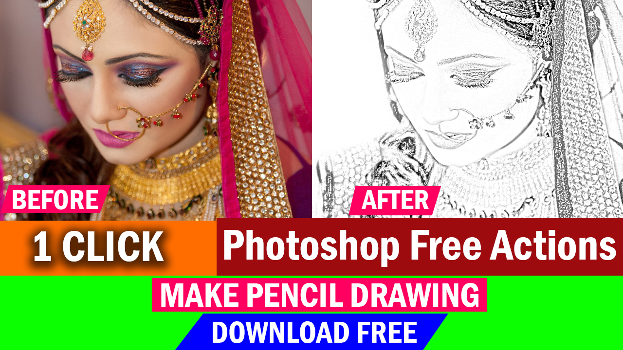 In this post i will show you photoshop actions make pencil drawing action in 1 click and you can using this photoshop actions in your photo your photo