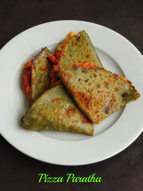 Pizza with Spinach Paratha