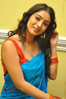 Telugu Actress Vaibhavi Stills in Blue Saree at Www.Meena Bazaar Movie Opening  0066.JPG