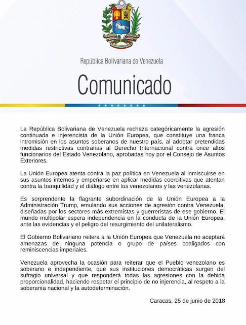 Venezuela rechazó las nuevas sanciones que la UE impuso a funcionarios de Gobierno