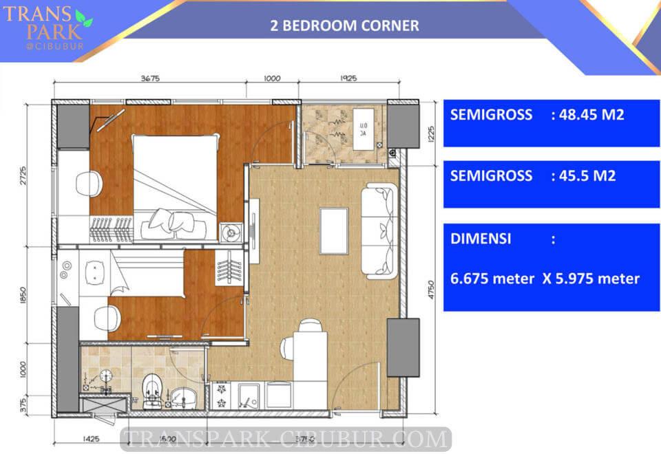 Denah Tipe 2 Bedroom Corner Apartemen TransPark Cibubur