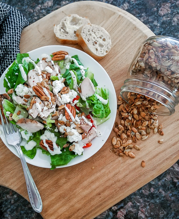 spicy pumpkin seeds are perfect in salads