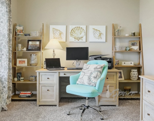 Turquoise Office Chair on Wheels