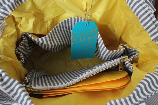 Grey Diaper Bag Yellow Interior