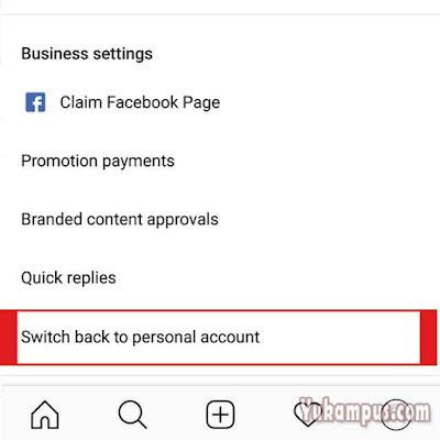 ganti instagram ke akun personal