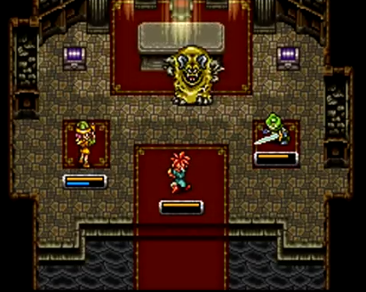 Crono, Lucca, and Frog battle Yakra in 600 AD of Chrono Trigger