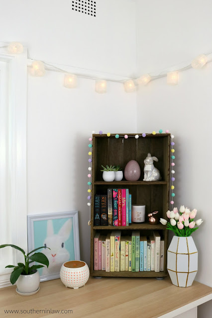 Easter Decor Inspiration - Best Places to Buy Easter Decor in Sydney Australia - Pastel Color Coordinated Bookshelf
