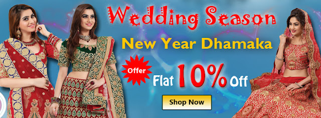 wedding season new year 2016 Flat 10% Off discount offer sale on sarees lehenga choli kurtis gowns salwar suits online shopping