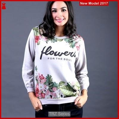 TRZ05 Sweater Abu Wanita Flower 006 Murah
